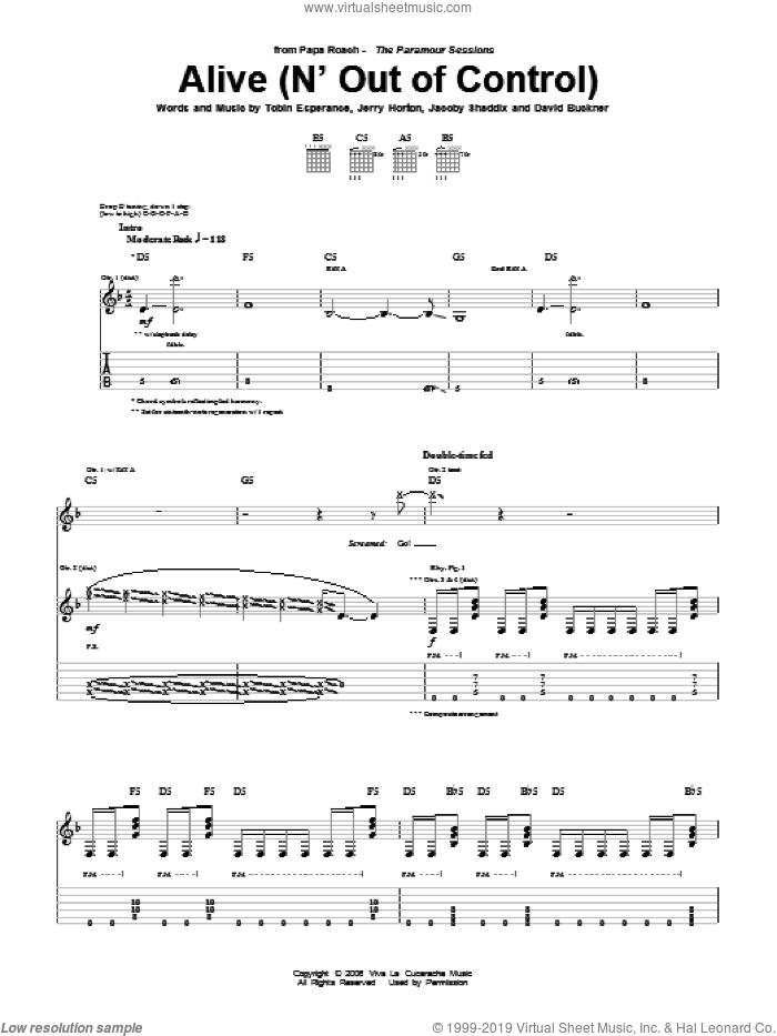 Alive (N' Out Of Control) sheet music for guitar (tablature) by Tobin Esperance, Papa Roach, David Buckner, Jacoby Shaddix and Jerry Horton
