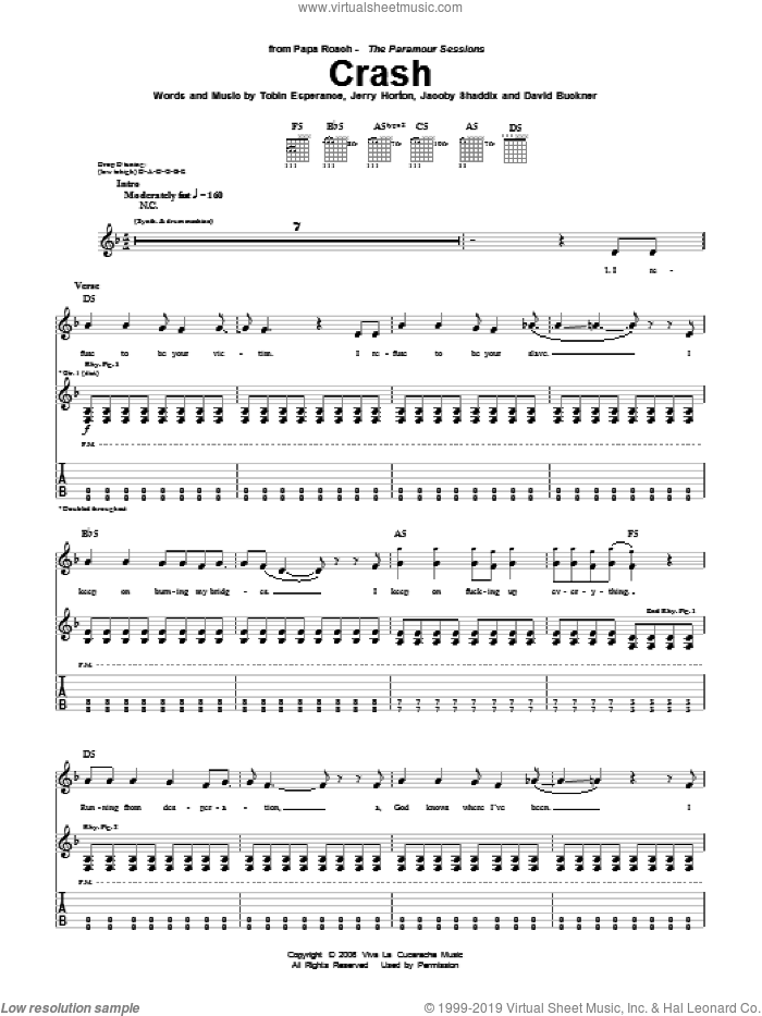 Crash sheet music for guitar (tablature) by Tobin Esperance, Papa Roach, David Buckner, Jacoby Shaddix and Jerry Horton. Score Image Preview.