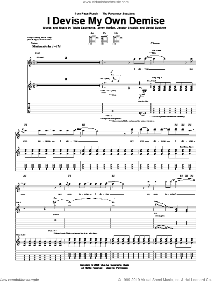 I Devise My Own Demise sheet music for guitar (tablature) by Papa Roach, David Buckner, Jacoby Shaddix, Jerry Horton and Tobin Esperance, intermediate skill level