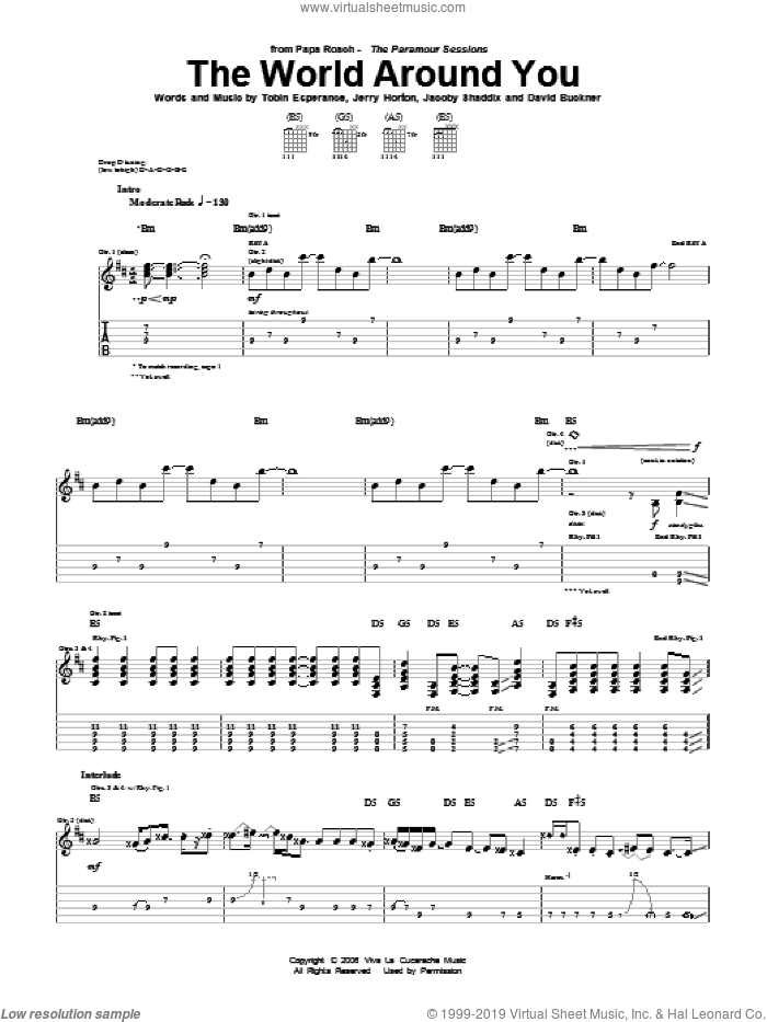 The World Around You sheet music for guitar (tablature) by Tobin Esperance, Papa Roach, David Buckner, Jacoby Shaddix and Jerry Horton. Score Image Preview.