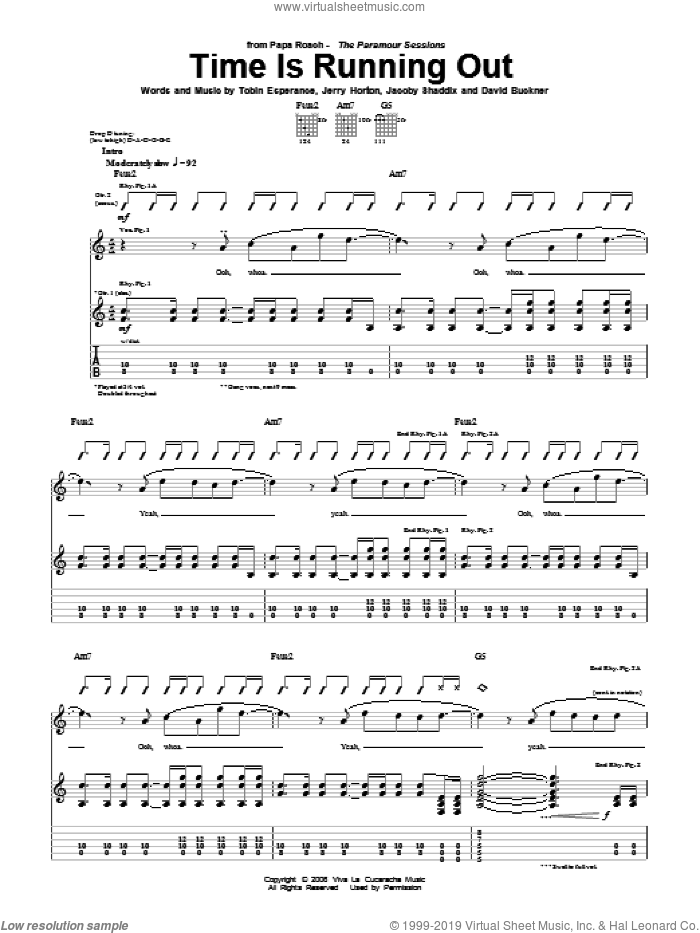 Time Is Running Out sheet music for guitar (tablature) by Papa Roach, Jacoby Shaddix, Jerry Horton and Tobin Esperance, intermediate