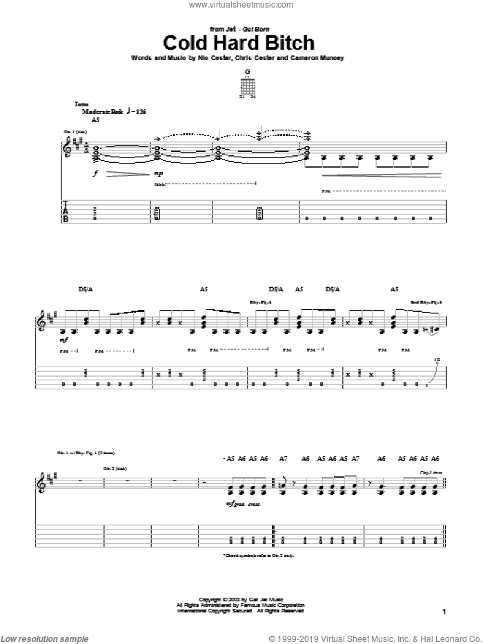 Cold Hard Bitch sheet music for guitar (tablature) by Chris Cester, Cameron Muncey and Nic Cester. Score Image Preview.