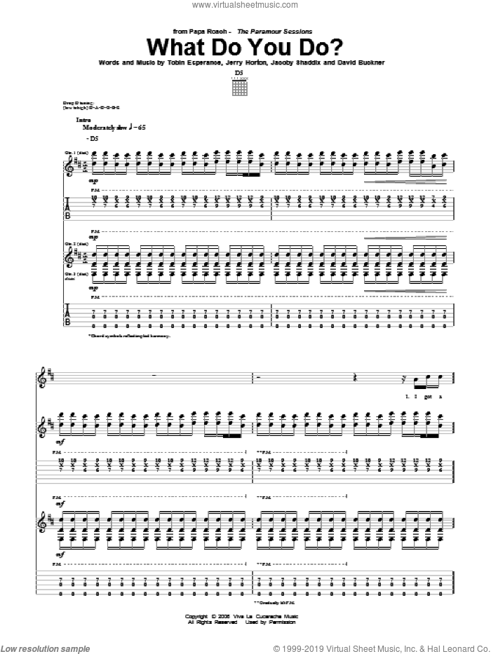 What Do You Do? sheet music for guitar (tablature) by Papa Roach, David Buckner, Jacoby Shaddix, Jerry Horton and Tobin Esperance, intermediate. Score Image Preview.