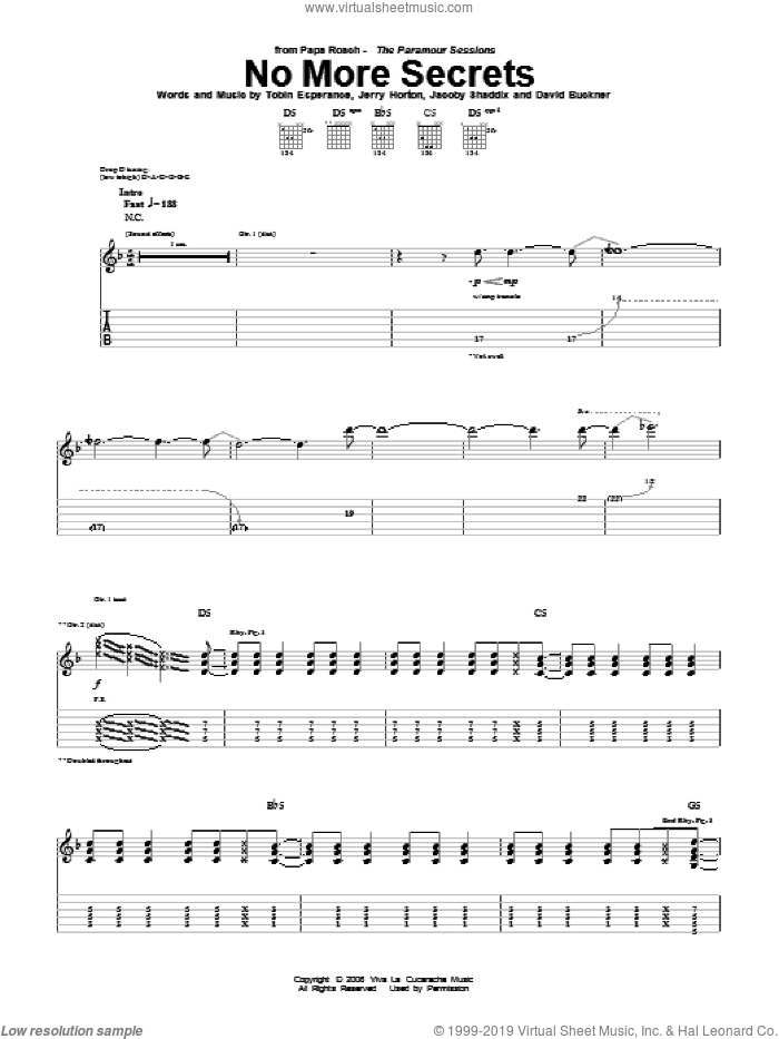 No More Secrets sheet music for guitar (tablature) by Tobin Esperance, Papa Roach, David Buckner, Jacoby Shaddix and Jerry Horton. Score Image Preview.