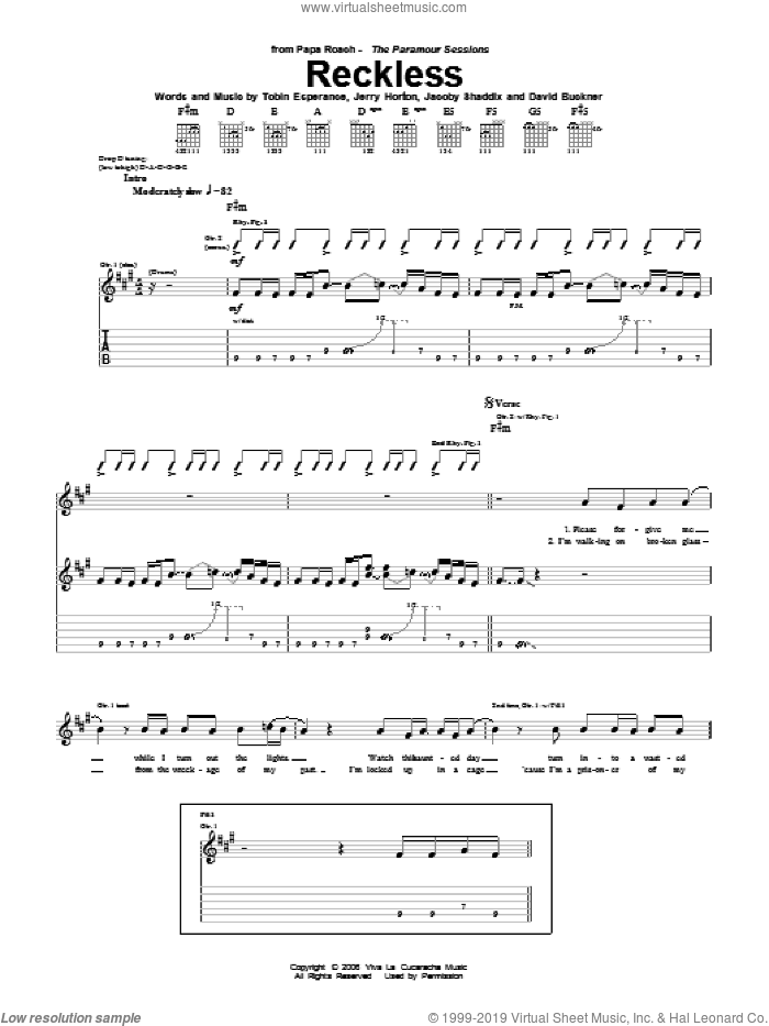 Reckless sheet music for guitar (tablature) by Papa Roach, David Buckner, Jacoby Shaddix, Jerry Horton and Tobin Esperance, intermediate skill level
