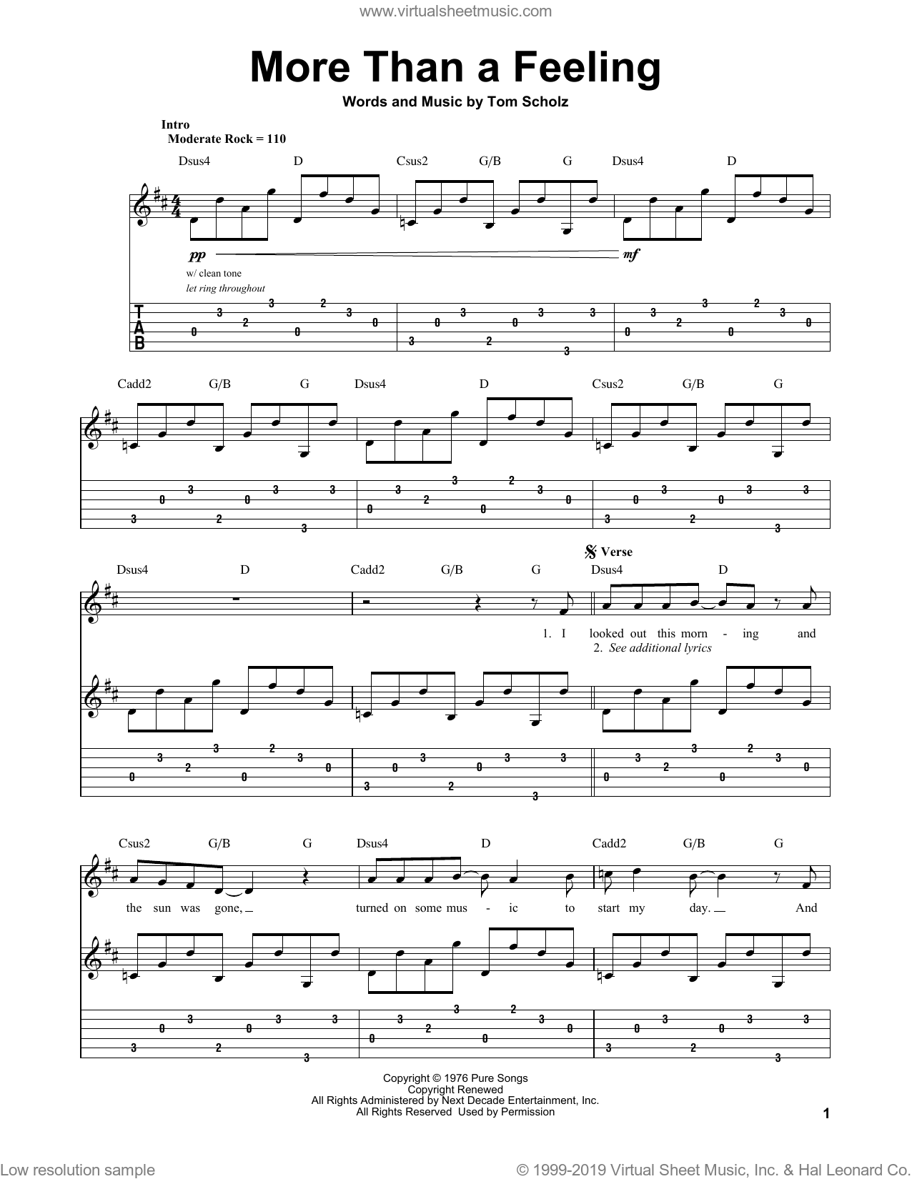 More Than A Feeling sheet music for guitar (tablature, play-along) by Boston and Tom Scholz, intermediate
