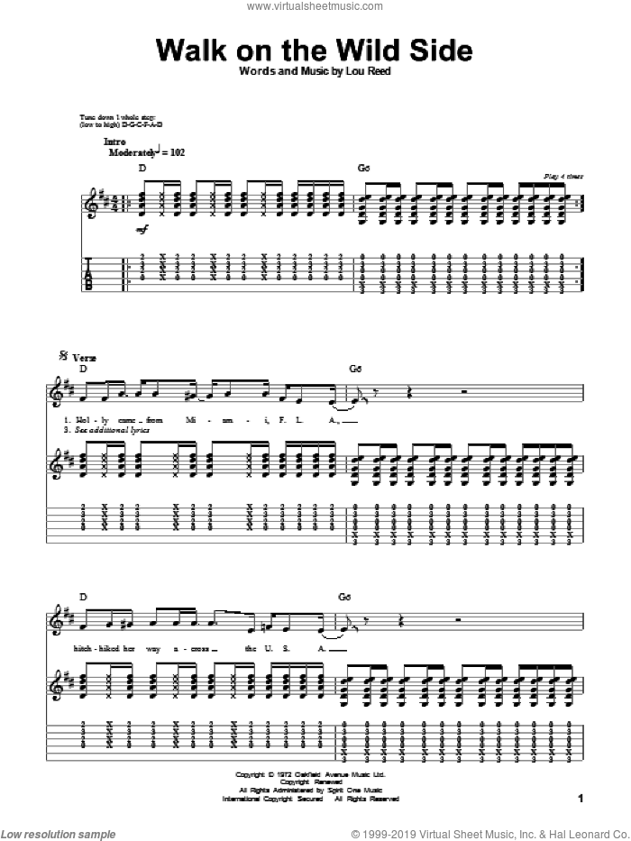 Walk On The Wild Side sheet music for guitar (tablature, play-along) by Lou Reed. Score Image Preview.