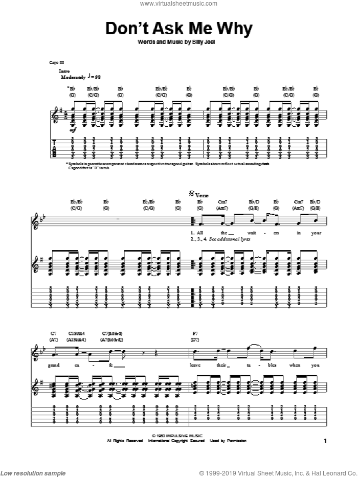Don't Ask Me Why sheet music for guitar (tablature, play-along) by Billy Joel, intermediate skill level