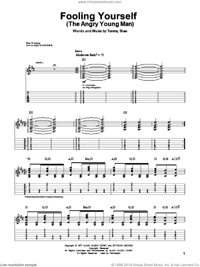 Fooling Yourself (The Angry Young Man) sheet music for guitar (tablature, play-along) by Styx and Tommy Shaw, intermediate skill level