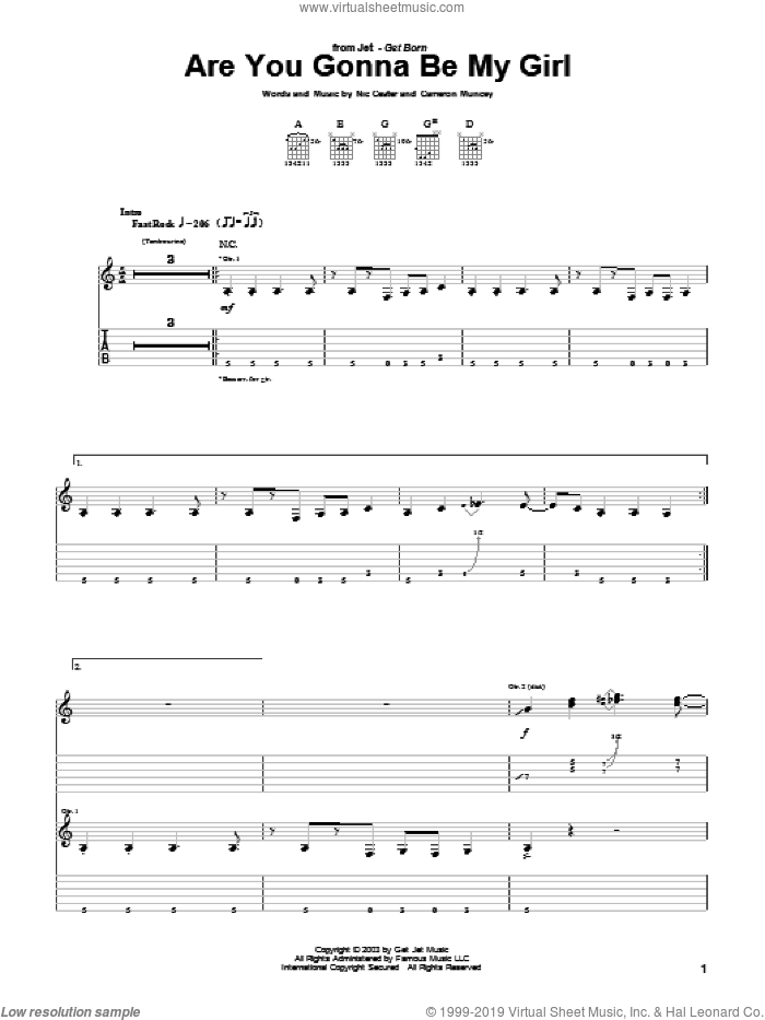Are You Gonna Be My Girl sheet music for guitar (tablature) by Cameron Muncey