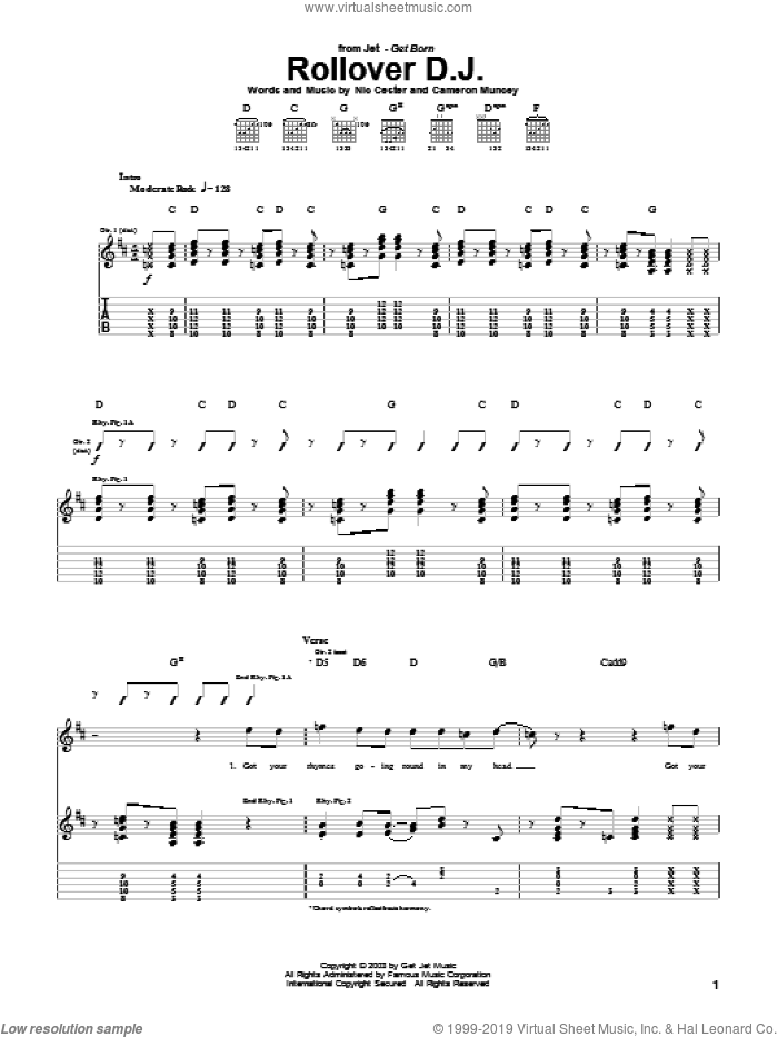 Rollover D.J. sheet music for guitar (tablature) by Nic Cester, intermediate. Score Image Preview.