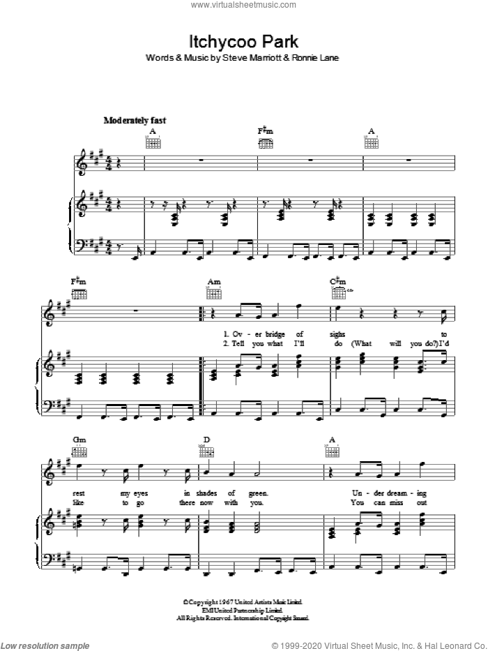 Itchycoo Park sheet music for voice, piano or guitar by Ronnie Lane and Steve Marriott. Score Image Preview.