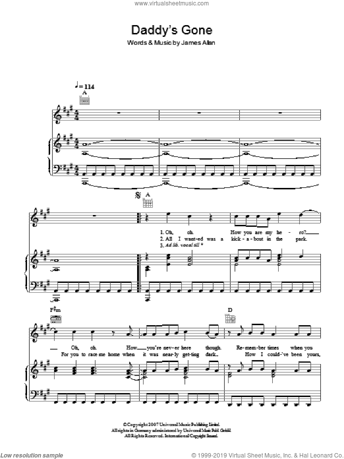 Daddy's Gone sheet music for voice, piano or guitar by Glasvegas and James Allan, intermediate skill level