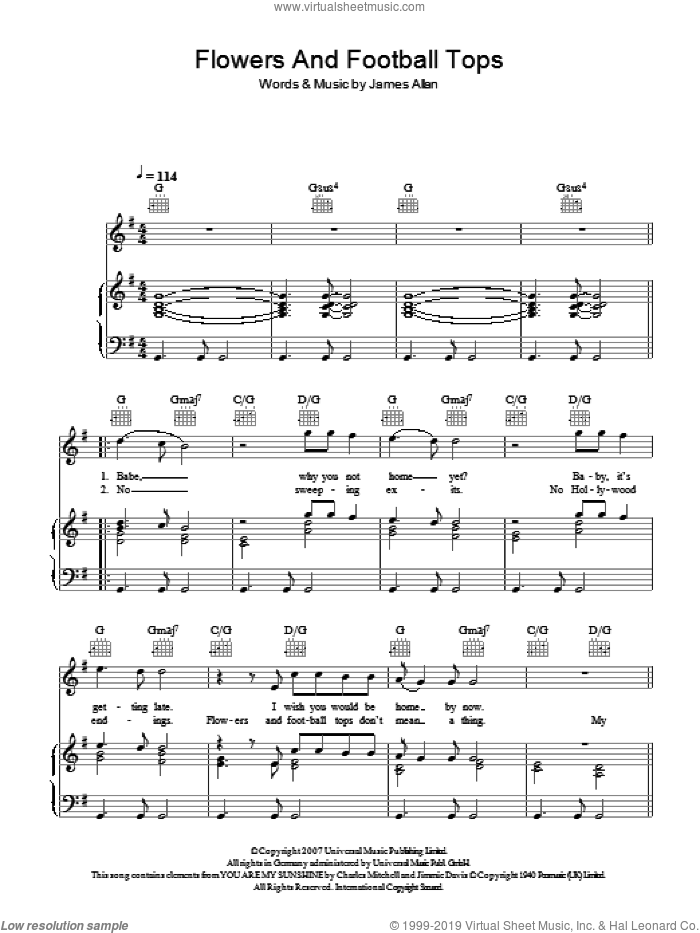 Flowers And Football Tops sheet music for voice, piano or guitar by James Allan