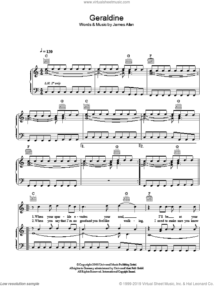 Geraldine sheet music for voice, piano or guitar by Glasvegas, intermediate voice, piano or guitar. Score Image Preview.