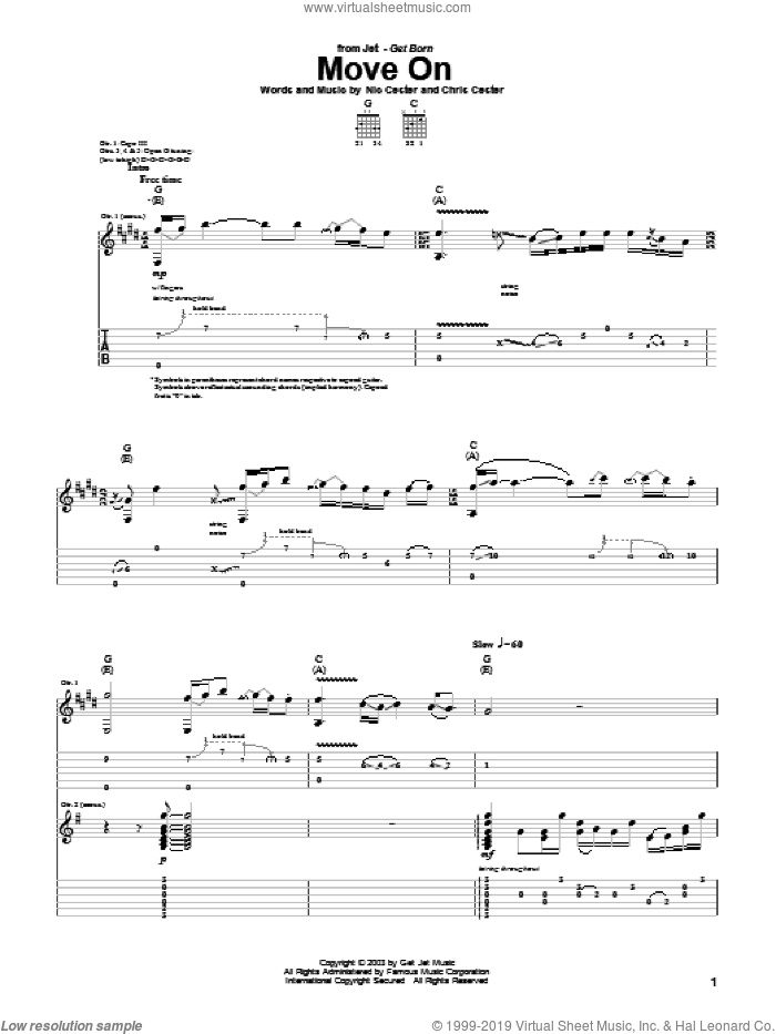 Move On sheet music for guitar (tablature) by Chris Cester and Nic Cester. Score Image Preview.