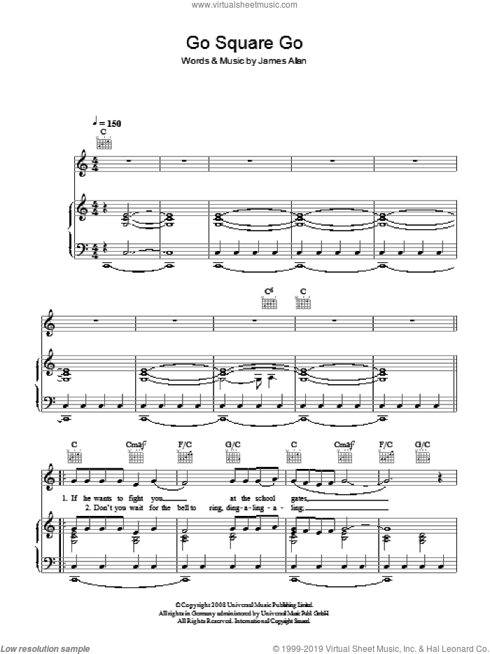 Go Square Go sheet music for voice, piano or guitar by Glasvegas and James Allan, intermediate skill level
