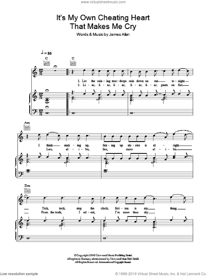 It's My Own Cheating Heart That Makes Me Cry sheet music for voice, piano or guitar by James Allan