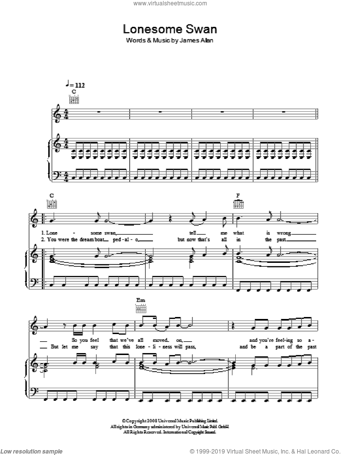 Lonesome Swan sheet music for voice, piano or guitar by James Allan. Score Image Preview.