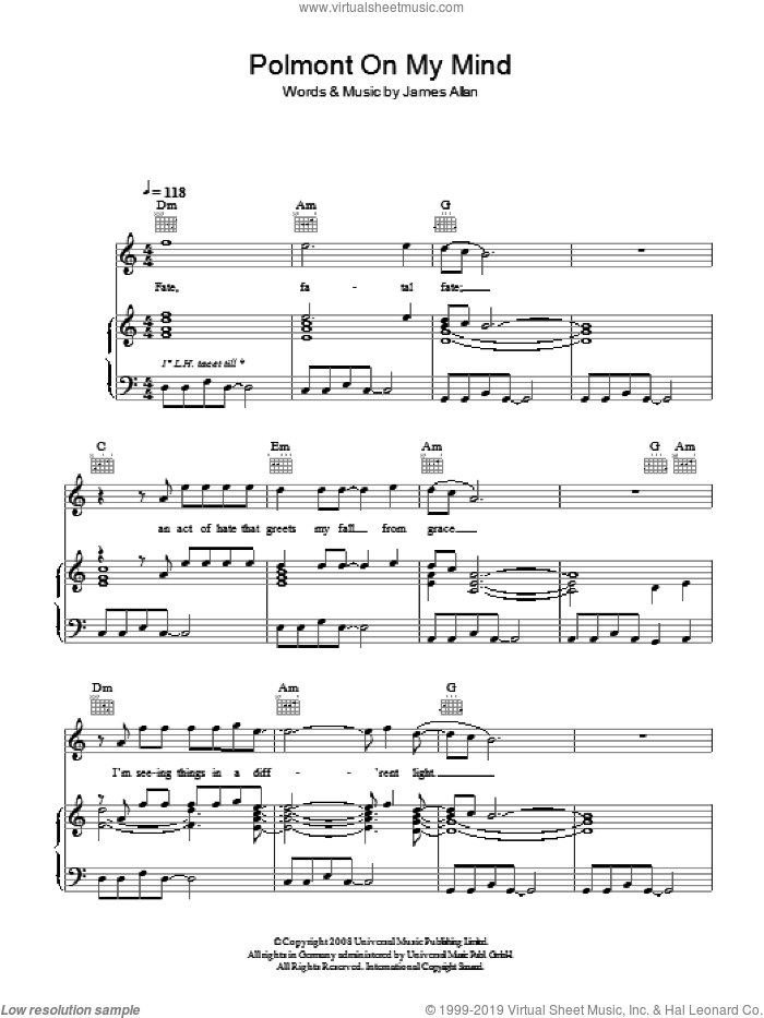 Polmont On My Mind sheet music for voice, piano or guitar by Glasvegas and James Allan, intermediate skill level