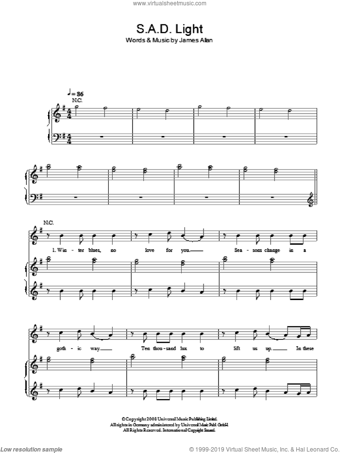 SAD Light sheet music for voice, piano or guitar by Glasvegas and James Allan, intermediate skill level