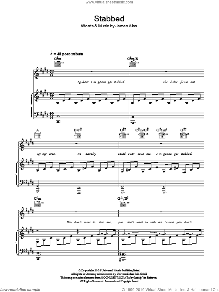 Stabbed sheet music for voice, piano or guitar by James Allan