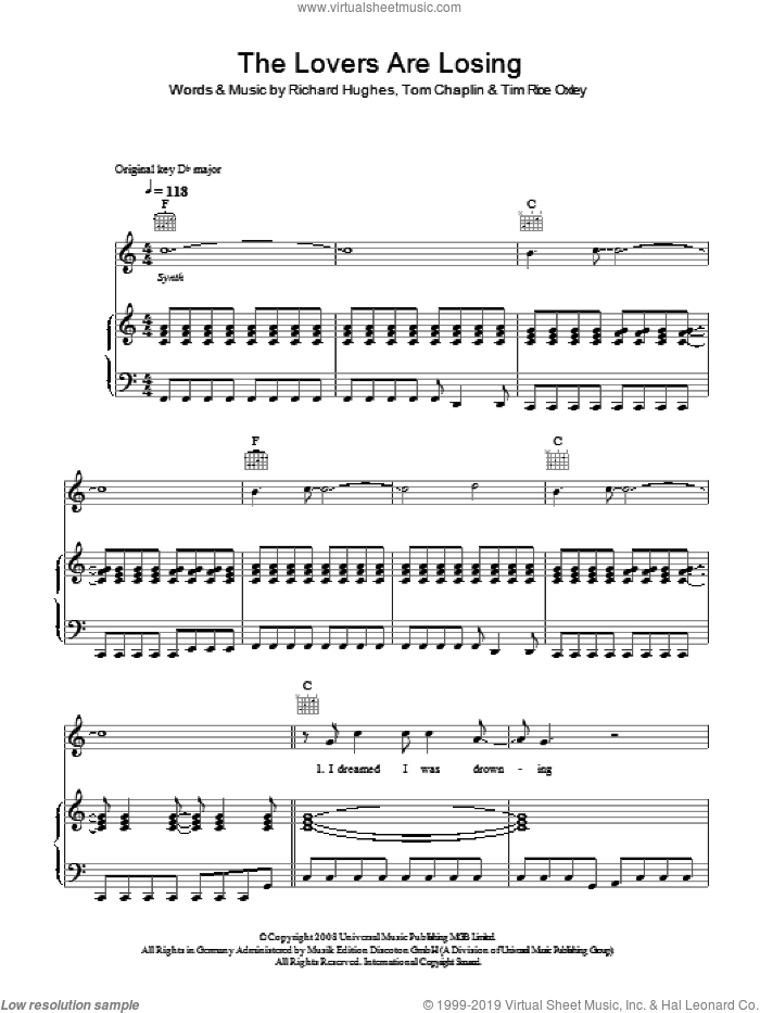 The Lovers Are Losing sheet music for voice, piano or guitar by Richard Hughes, Tim Rice-Oxley, Tim Rice Oxley and Tom Chaplin. Score Image Preview.