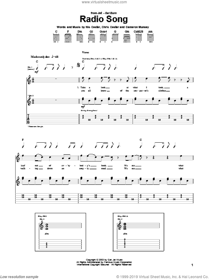 Radio Song sheet music for guitar (tablature) by Chris Cester, Cameron Muncey and Nic Cester. Score Image Preview.