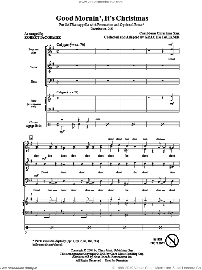Good Mornin', It's Christmas sheet music for choir (SATB: soprano, alto, tenor, bass) by Robert DeCormier, intermediate skill level