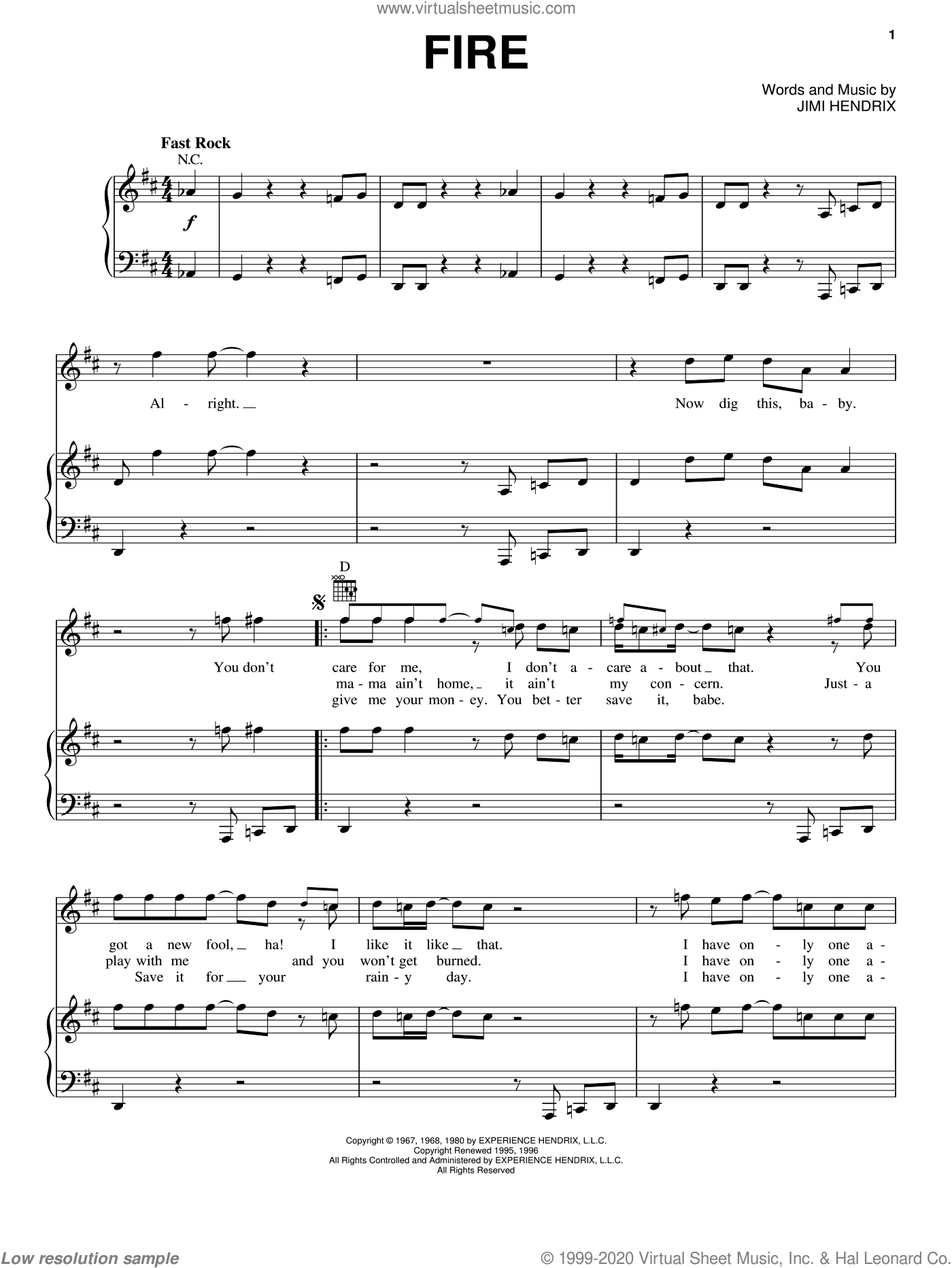 Fire sheet music for voice, piano or guitar by Jimi Hendrix, intermediate skill level