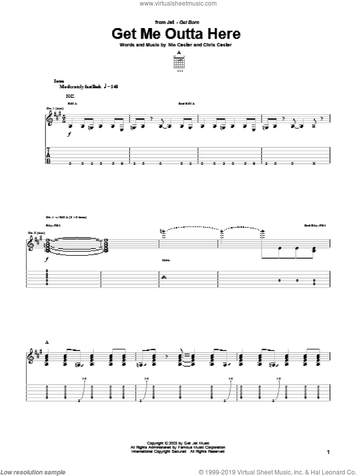 Get Me Outta Here sheet music for guitar (tablature) by Chris Cester and Nic Cester. Score Image Preview.