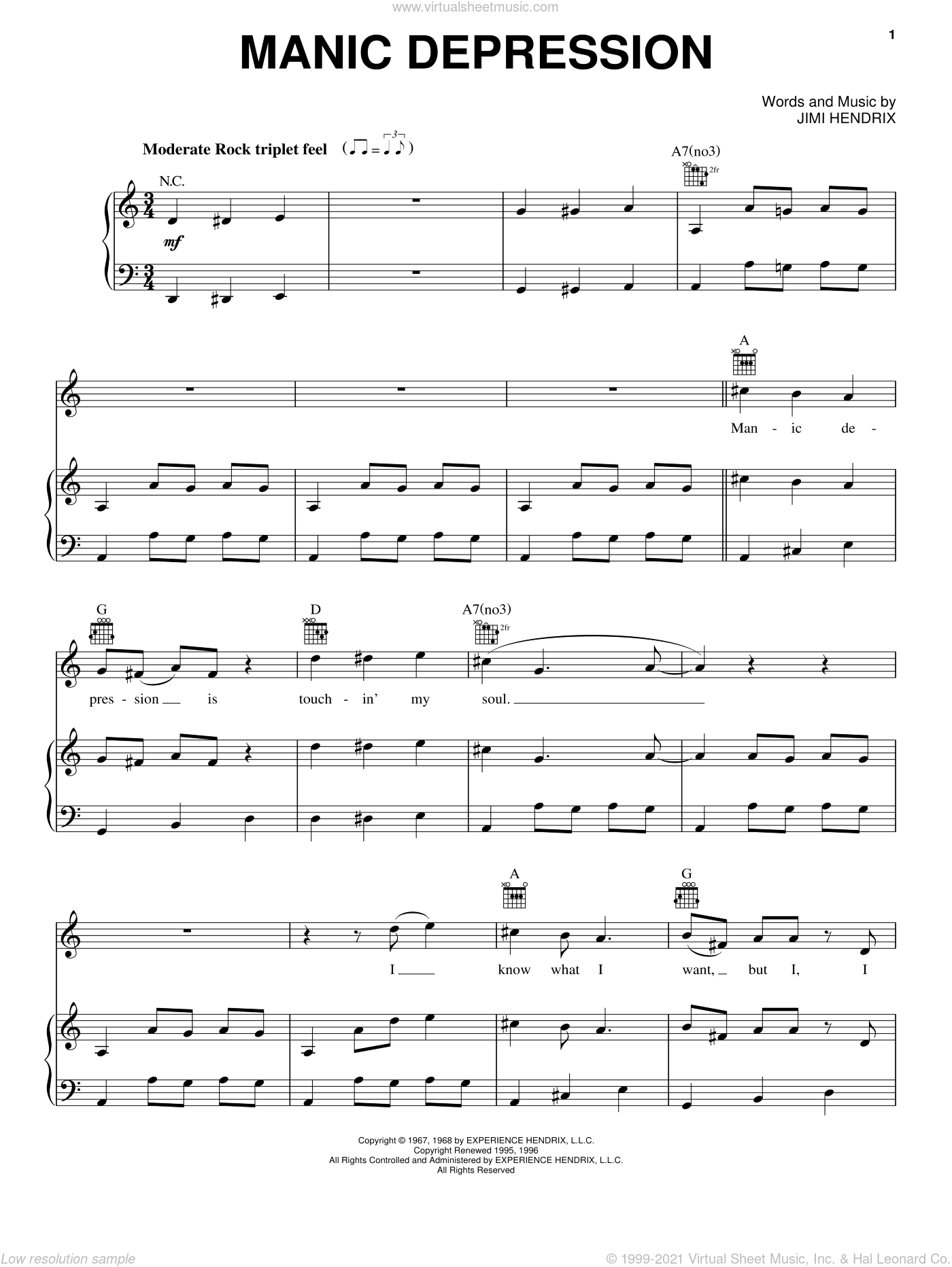 Manic Depression sheet music for voice, piano or guitar by Jimi Hendrix, intermediate. Score Image Preview.
