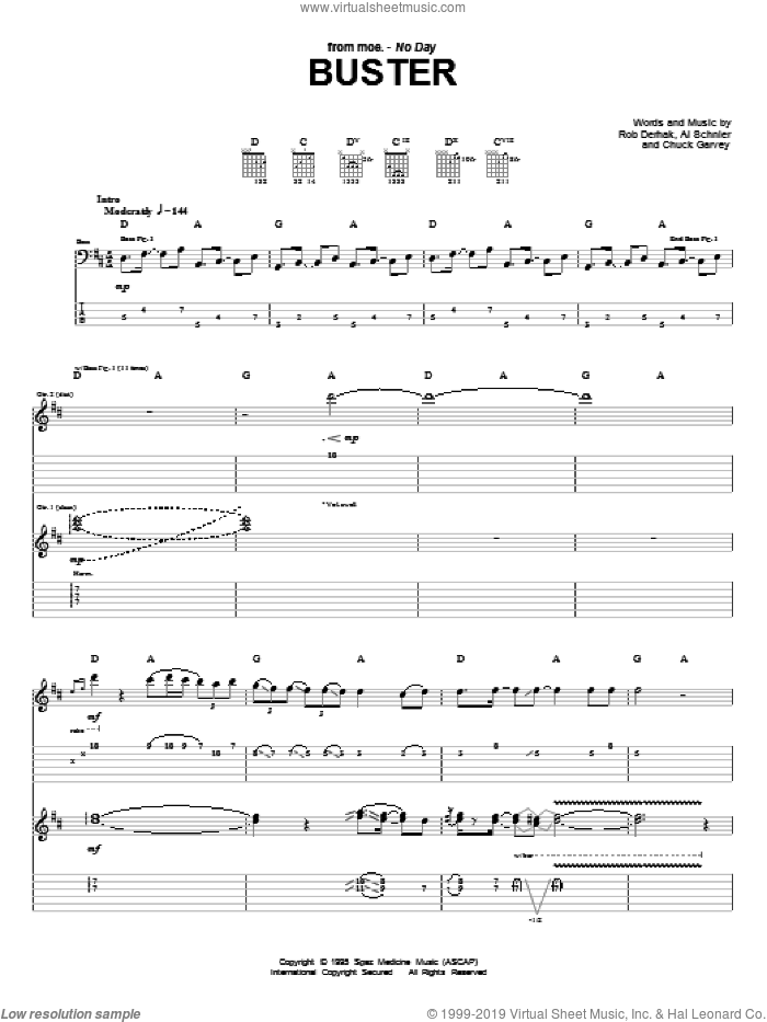 Buster sheet music for guitar (tablature) by Rob Derhak
