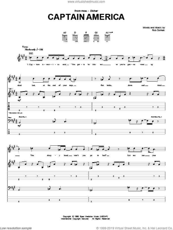 Captain America sheet music for guitar (tablature) by Rob Derhak. Score Image Preview.