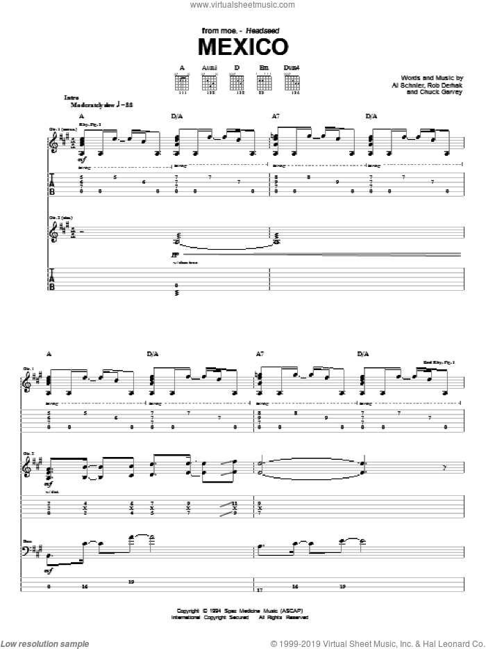 Mexico sheet music for guitar (tablature) by Rob Derhak and Al Schnier. Score Image Preview.