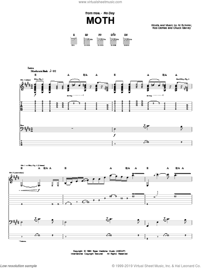 Moth sheet music for guitar (tablature) by moe., intermediate. Score Image Preview.