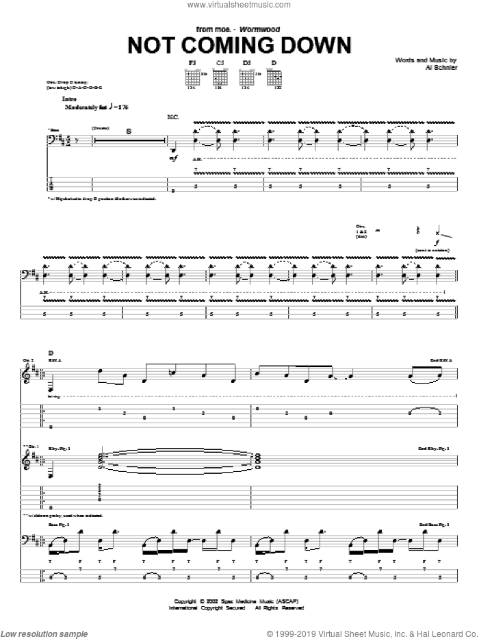 Not Coming Down sheet music for guitar (tablature) by Al Schnier. Score Image Preview.
