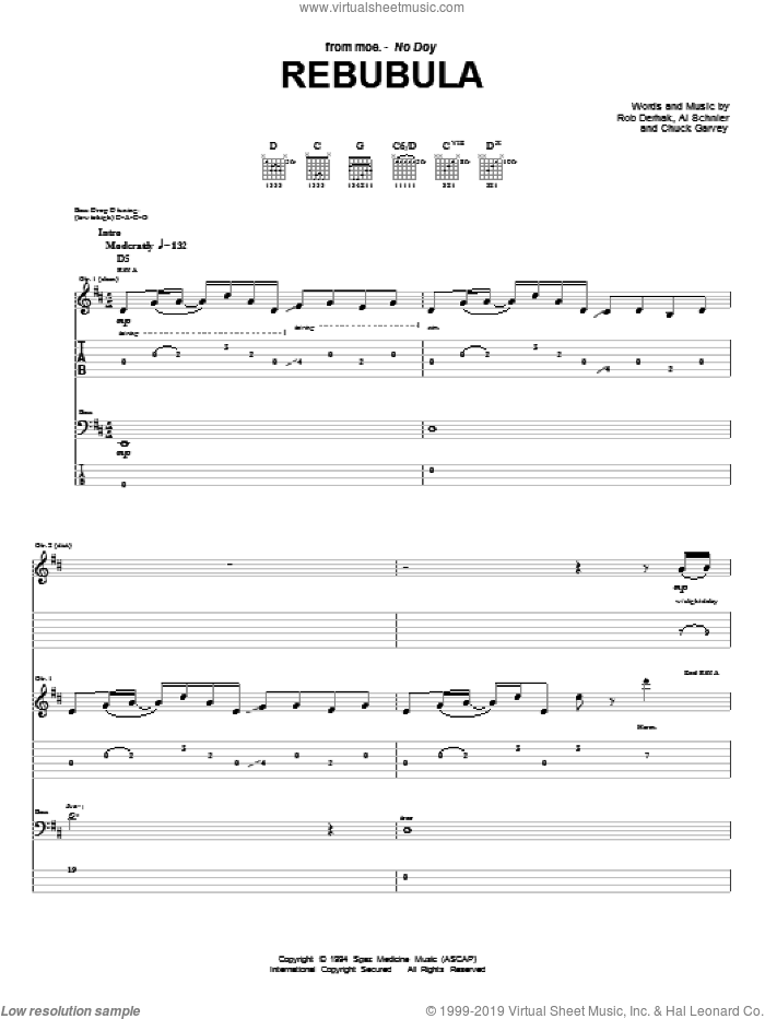 Rebubula sheet music for guitar (tablature) by Rob Derhak and Al Schnier. Score Image Preview.