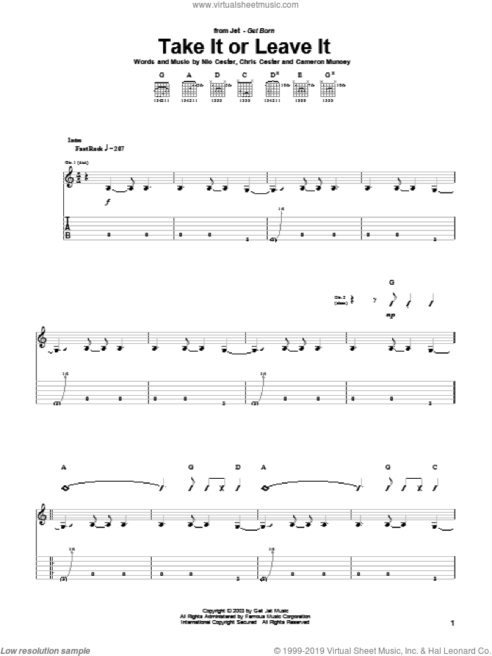 Take It Or Leave It sheet music for guitar (tablature) by Chris Cester, Cameron Muncey and Nic Cester. Score Image Preview.