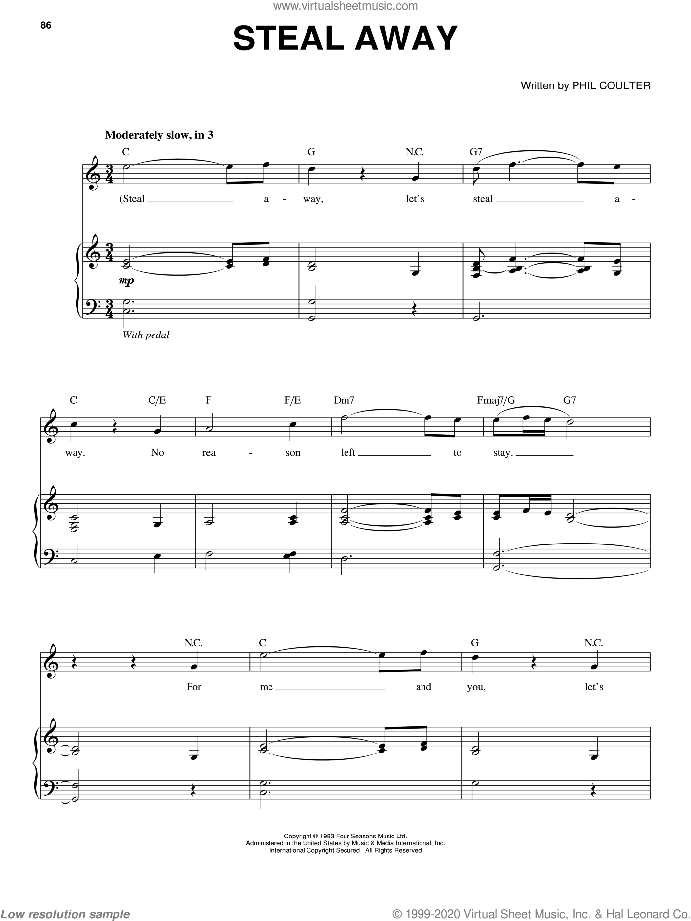 Steal Away sheet music for voice and piano by Phil Coulter and Celtic Thunder. Score Image Preview.