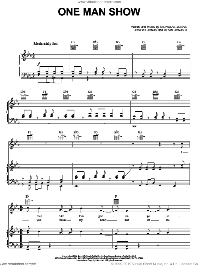 One Man Show sheet music for voice, piano or guitar by Jonas Brothers, Joseph Jonas, Kevin Jonas II and Nicholas Jonas, intermediate skill level