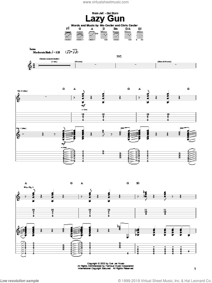 Lazy Gun sheet music for guitar (tablature) by Chris Cester and Nic Cester. Score Image Preview.
