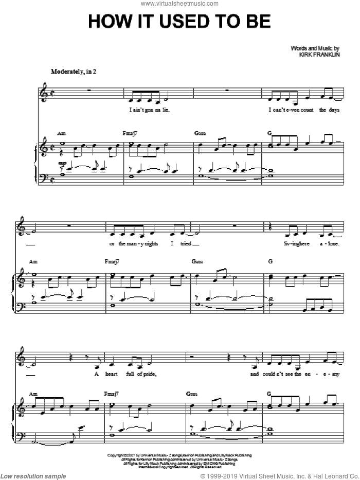 How It Used To Be sheet music for voice and piano by Kirk Franklin. Score Image Preview.
