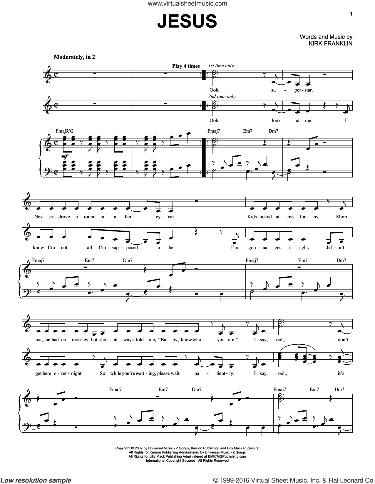 Jesus sheet music for voice and piano by Kirk Franklin, intermediate. Score Image Preview.
