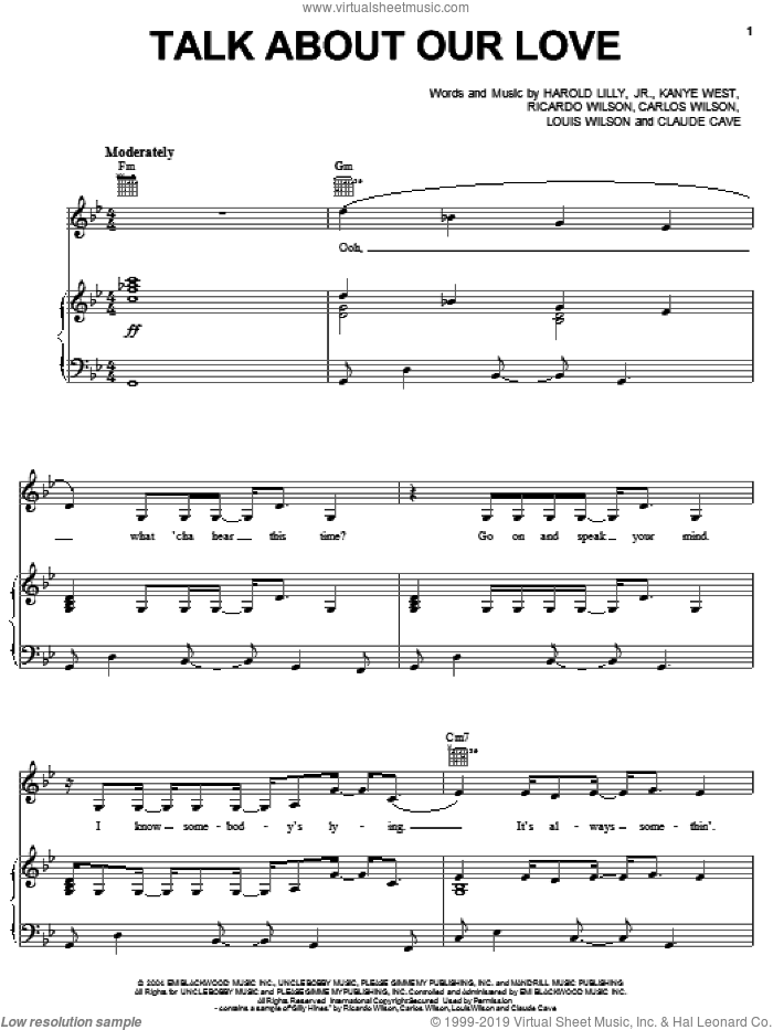 Talk About Our Love sheet music for voice, piano or guitar by Brandy, Harold Lilly, Jr., Kanye West and Richard Wilson, intermediate skill level