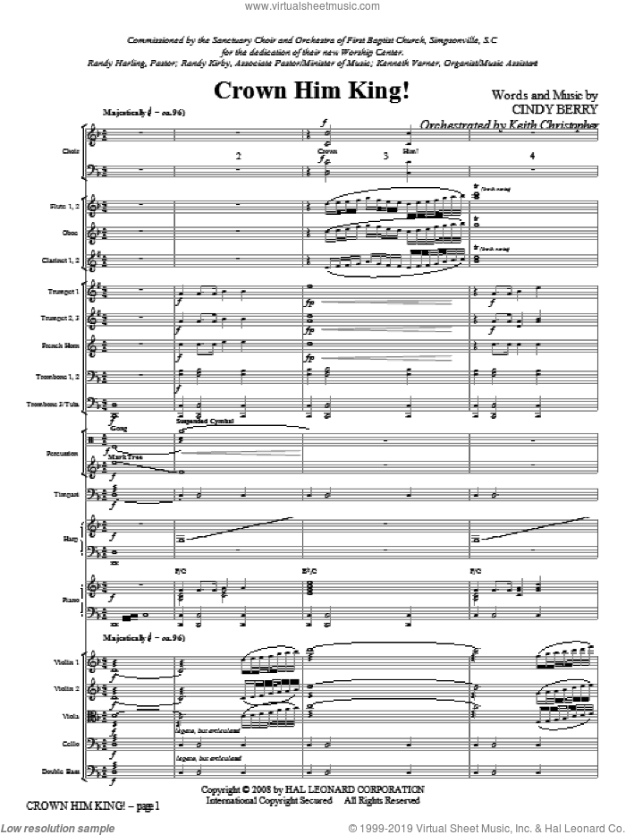 Crown Him King! sheet music for orchestra/band (full score) by Cindy Berry