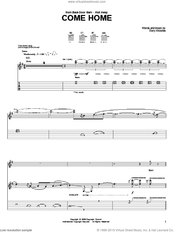 Come Home sheet music for guitar (tablature) by Back Door Slam and Davy Knowles, intermediate skill level