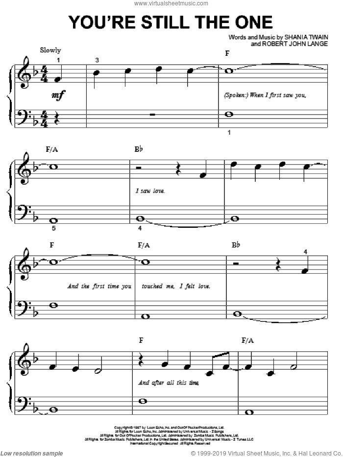 You're Still The One sheet music for piano solo (big note book) by Shania Twain and Robert John Lange, wedding score, easy piano (big note book). Score Image Preview.