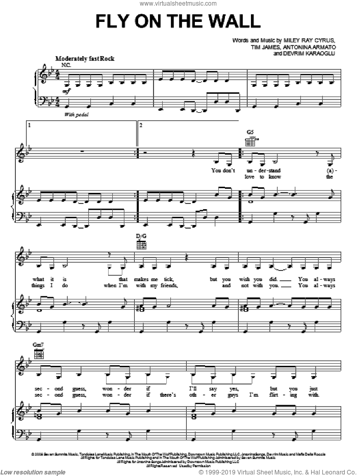 Fly On The Wall sheet music for voice, piano or guitar by Miley Cyrus, Antonina Armato, Devrim Karaoglu, Miley Ray Cyrus and Tim James, intermediate skill level