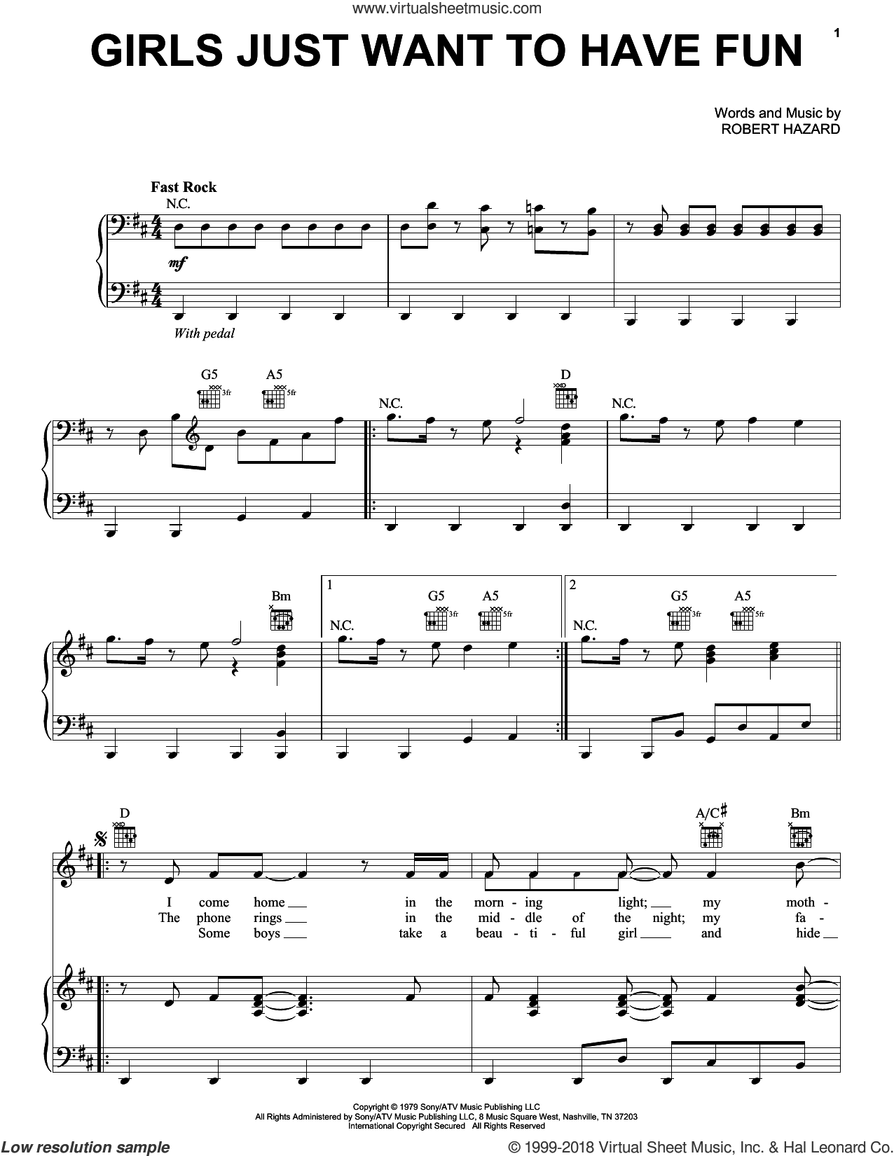 Girls Just Want To Have Fun sheet music for voice, piano or guitar by Robert Hazard